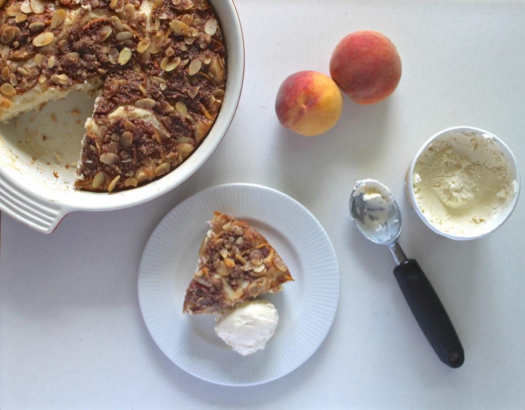 Peach Coffee Cake recipe. Best served with ice cream.