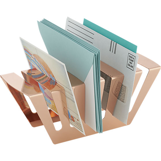 Don't let paperwork, bills and files get out of control, keep everything neat and organized with this Rose Gold Letter Holder from CB2.