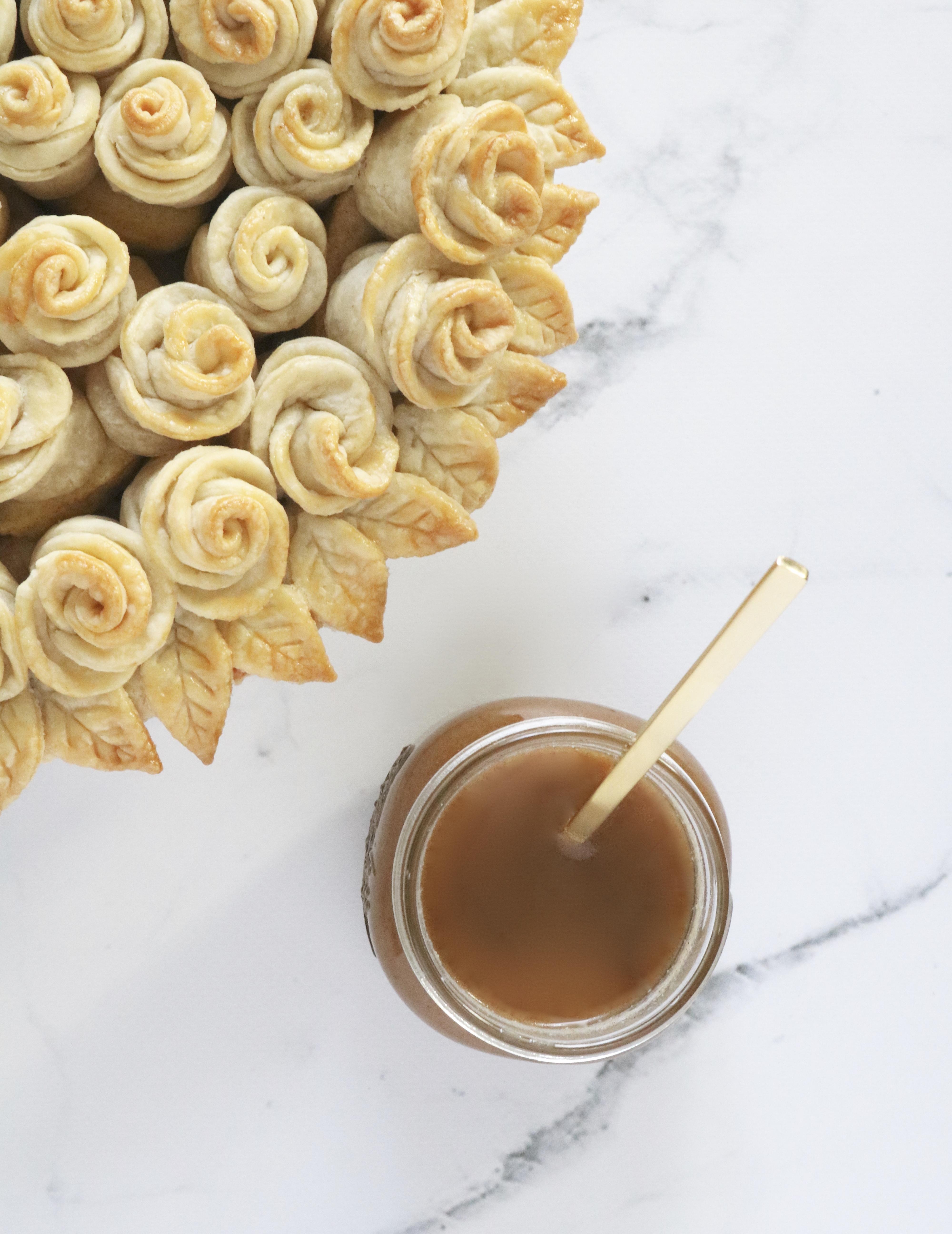 maple bourbon apple rose pie