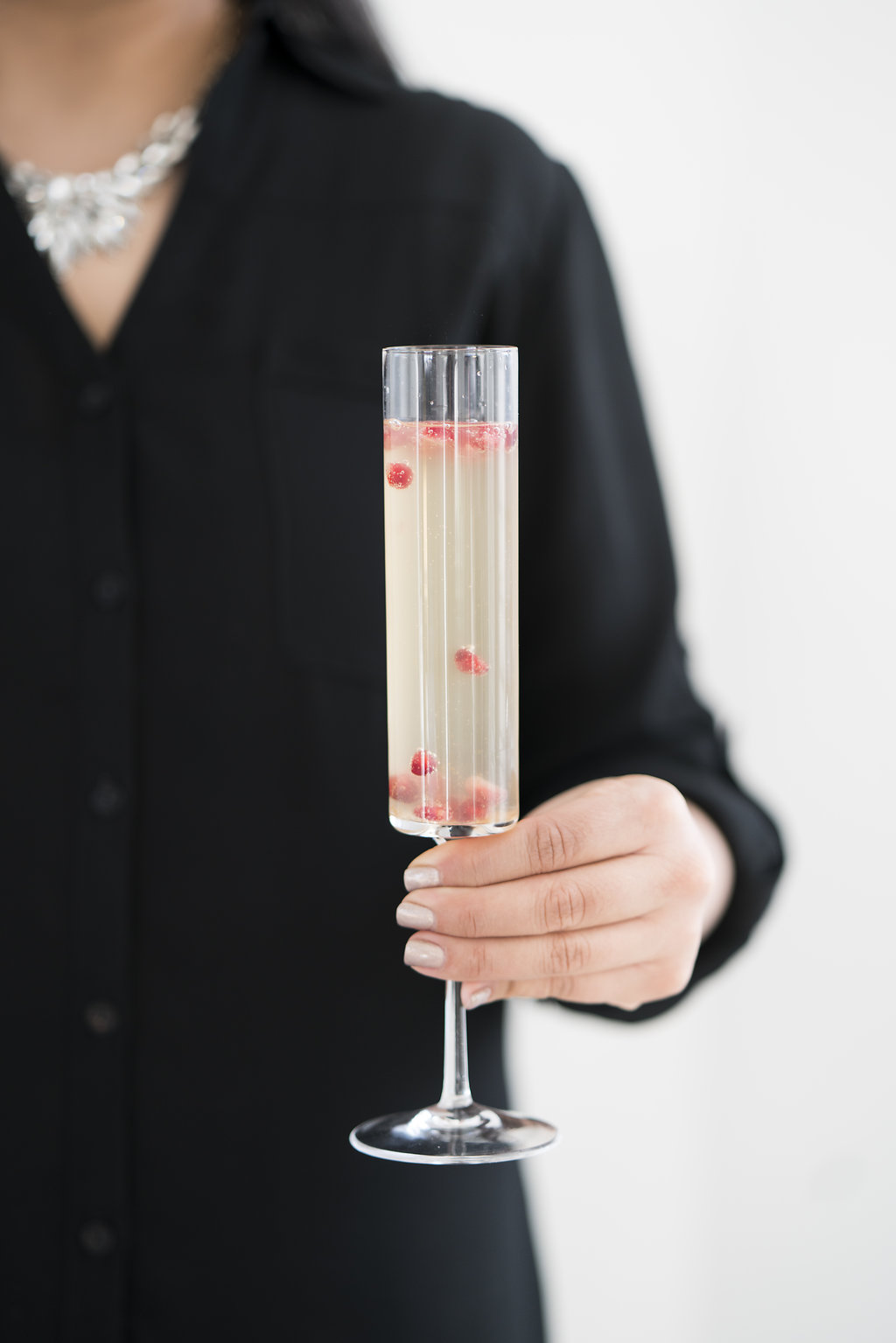 pomegranate, pear and prosecco cocktail